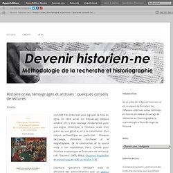 Histoire orale, témoignages et archives : quelques conseils de lectures