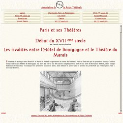 histoire des théâtres parisiens: Le début du 17ème siècle
