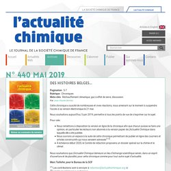 Des histoires belges... - L'Actualité Chimique
