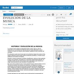 HISTORIA Y EVOLUCIÓN DE LA MUSICA
