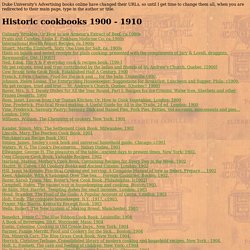 Historic cookbooks 1900 - 1910