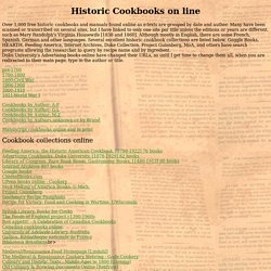Historic Cookbooks on line