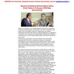 Record of Historic Richard Nixon-Zhou Enlai Talks in February 1972 Now Declassified