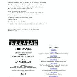 The Dance: Historic Illustrations of Dancing from 3300 B.C. to 1911 A.D.