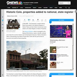 Historic Colo. properties added to national, state register