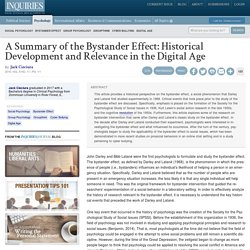 A Summary of the Bystander Effect: Historical Development and Relevance in the Digital Age