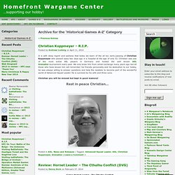 Historical Games A-Z « Homefront Wargame Center