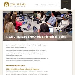 LIB200: Research Methods & Historical Topics – Instruction & Learning