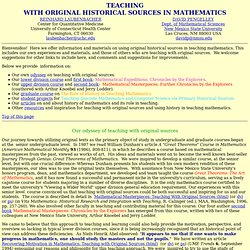 Teaching with Original Historical Sources in Mathematics