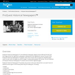 Find Products & Services - ProQuest Historical Newspapers