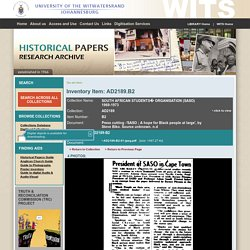 Historical Papers, Wits University