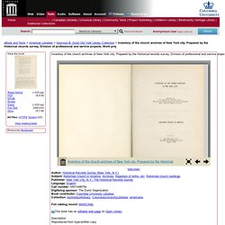 IA: Inventory of the Church Archives of NYC