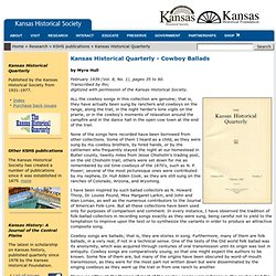 Kansas Historical Quarterly - Cowboy Ballads