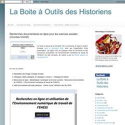 Recherches documentaires en ligne pour les sciences sociales (nouveau tutoriel)