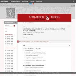 Historiographie du crime et de la justice criminelle dans l'espace français (1990-2005)