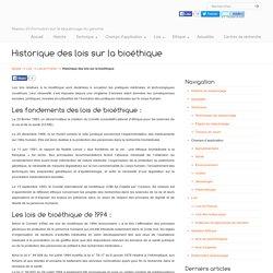 Historique des lois sur la bioéthique