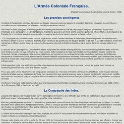 historique de l'armée coloniale française.