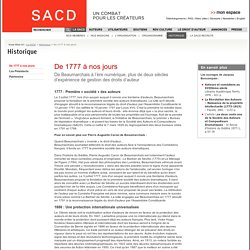 SACD Historique - De 1777 à nos jours