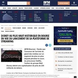 Disney au plus haut historique en Bourse en vue du lancement de sa plateforme de streaming