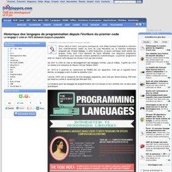 Historique des langages de programmation depuis l'écriture du premier code, le langage C créé en 1972 demeure toujours populaire