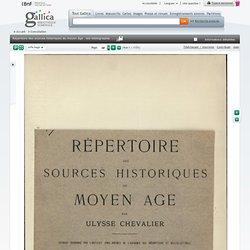 Répertoire des sources historiques du moyen âge : bio-bibliographie. Vol. 1, A-I / par Ulysse Chevalier
