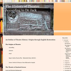 The History of Theatre According to Dr Jack: An Outline of Theatre History: Origins through English Restoration