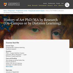 PhD History of Art course - Postgraduate degree study