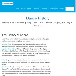 History of Dance articles, origons of dance.