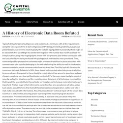 A History of Electronic Data Room Refuted