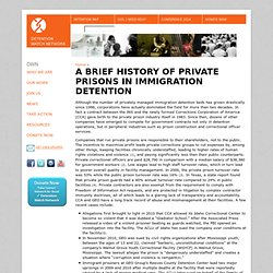 A Brief History of Private Prisons in Immigration Detention | Detention Watch Network