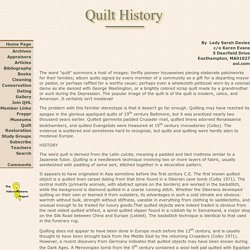 Quilt History - A short introduction to period quilting
