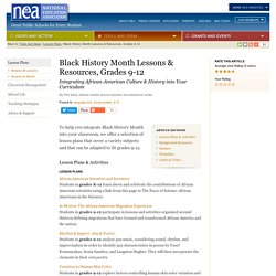 NEA - Black History Month Lessons & Resources, Grades 9-12
