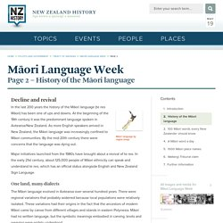 History of the Māori language - Māori Language Week