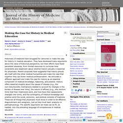 Making the Case for History in Medical Education