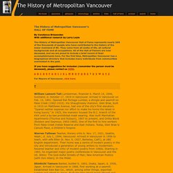 The History of Metropolitan Vancouver - Hall of Fame