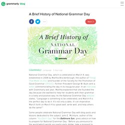 A Brief History of National Grammar Day