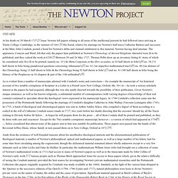 History of Newton's Papers (1727-1872) | Newton Project