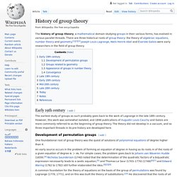 History of group theory