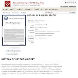 History of psychosurgery