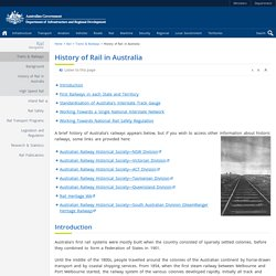 History of Rail in Australia