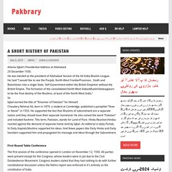 A short history of Pakistan – Pakbrary