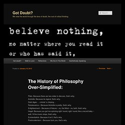 The History of Philosophy Over-Simplified: