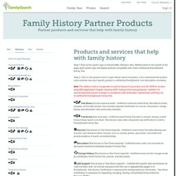 Family History Products for Windows - Mac - Mobile - Web