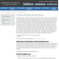 AHA History Tuning Project: History Discipline Core