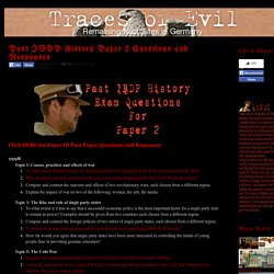 Traces of Evil: Past IBDP History Paper 2 Questions and Responses
