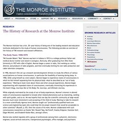The History of Research at the Monroe Institute