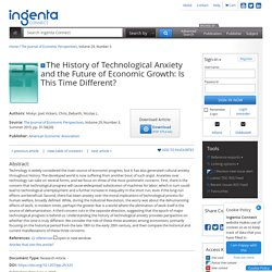 The History of Technological Anxiety and the Future of Economic G...: Ingenta Connect