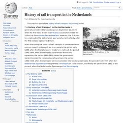 History of rail transport in the Netherlands