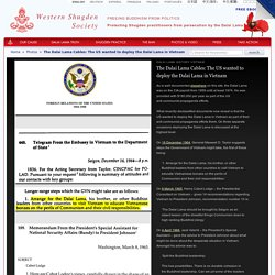Dalai Lama History - The US wanted to deploy the Dalai Lama in Vietnam