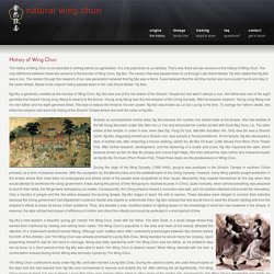 history of wing chun - as passed down to Yip Man - natural wing chun natural wing chun